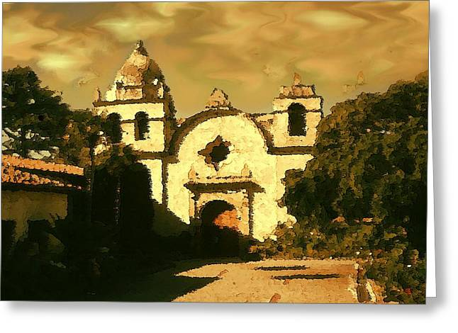 Religious Canvas Prints Drawings Greeting Cards - Old Carmel Mission - Watercolor Drawing Greeting Card by Art America - Art Prints - Posters - Fine Art