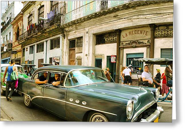 People Greeting Cards - Old Cars On A Street, Havana, Cuba Greeting Card by Panoramic Images