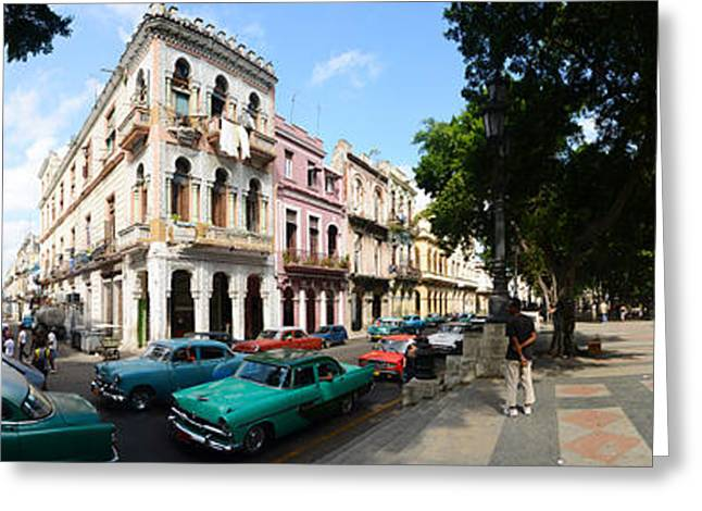 Residential District Greeting Cards - Old Cars Parked Outside Buildings Greeting Card by Panoramic Images