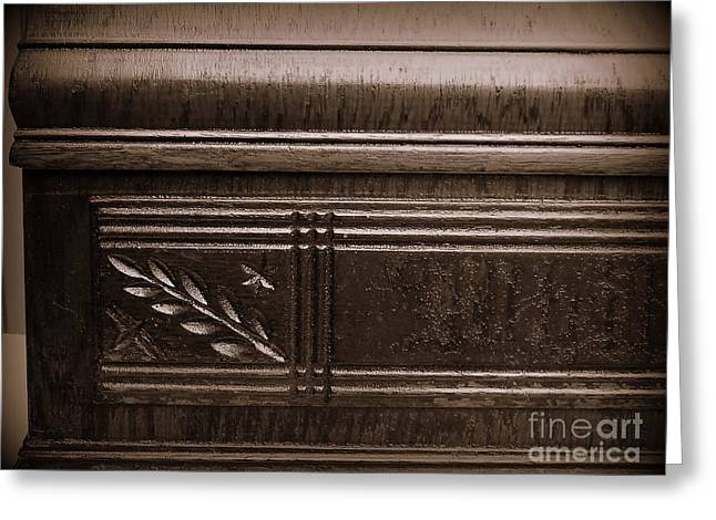 Warn In Greeting Cards - Old Carved Wood Cabinet Greeting Card by JW Hanley