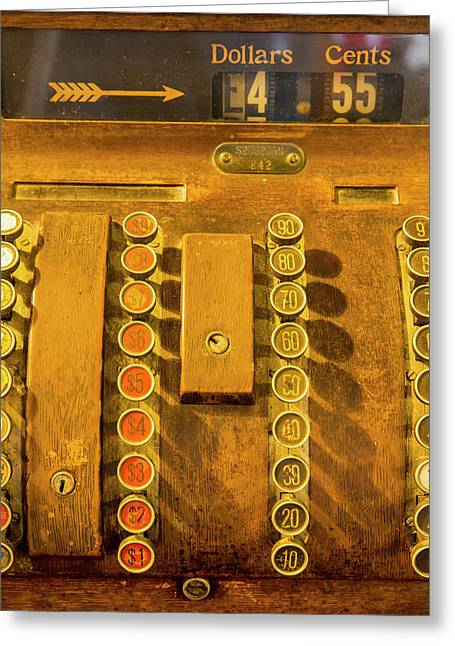 Old Cash Register Decor At The Historic Greeting Card by Chuck Haney
