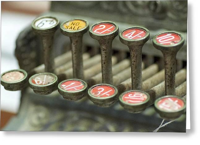 Old Cash Register Keys Greeting Cards - Old Cash Register Keys - Shillings and Pence  Greeting Card by Sally Nevin