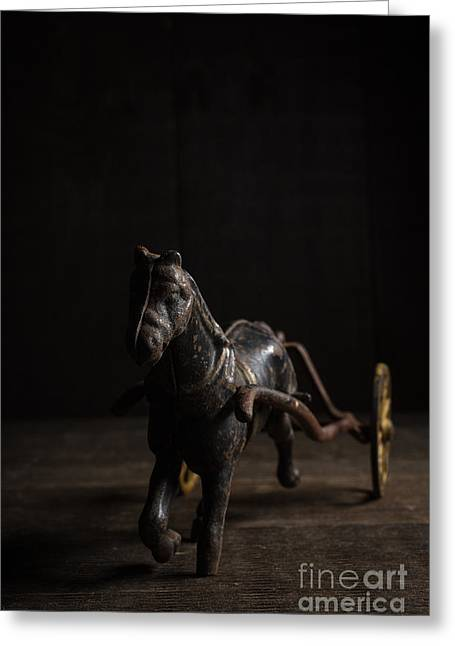 Child Toy Greeting Cards - Old Cast Iron Toy Horse Greeting Card by Edward Fielding