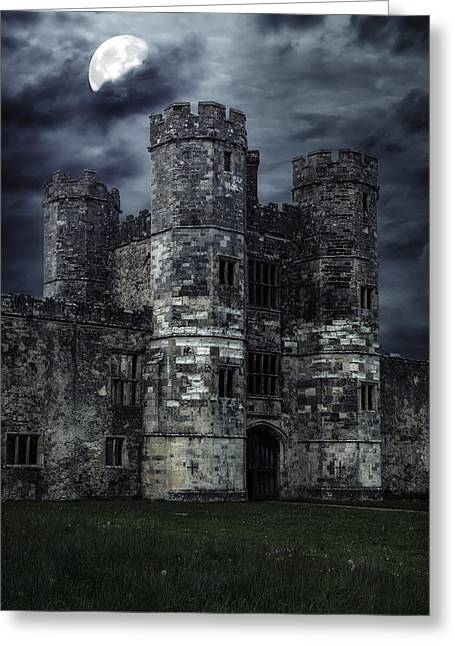 Moonshine Greeting Cards - Old Castle At Night Greeting Card by Joana Kruse