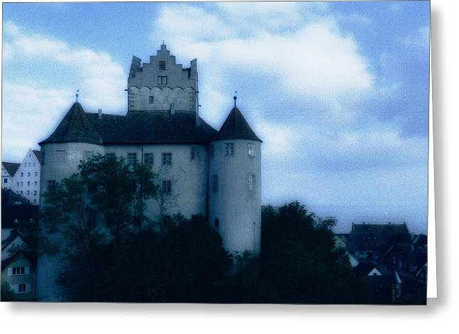 Gothic Germany Greeting Cards - Old castle on a hill in blue twilight Greeting Card by Matthias Hauser