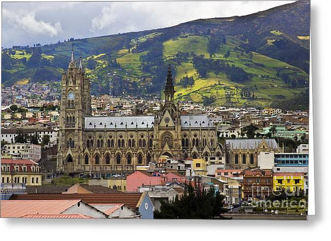 Souvenir Photo Studio Greeting Cards - Old Cathedral In Quito Ecuador Greeting Card by Al Bourassa