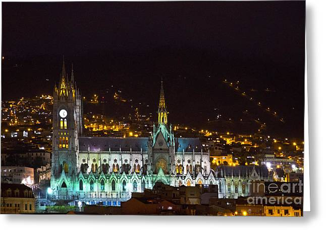 Vow Greeting Cards - Old Cathedral Of Quito At Night Greeting Card by Al Bourassa