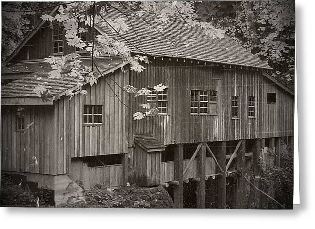 Grist Mill Mixed Media Greeting Cards - Old Cedar Creek Grist Mill  Greeting Card by Chalet Roome-Rigdon