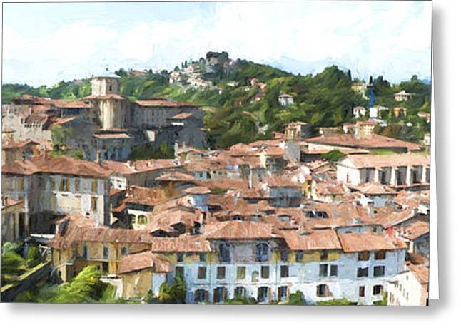 Citta Alta Greeting Cards - Old centre of Bergamo Greeting Card by Perry Van Munster