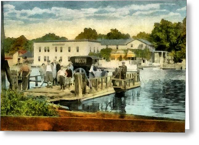 Old West Postcards Greeting Cards - Old Chain Ferry Saugatuck Michigan Greeting Card by Michelle Calkins