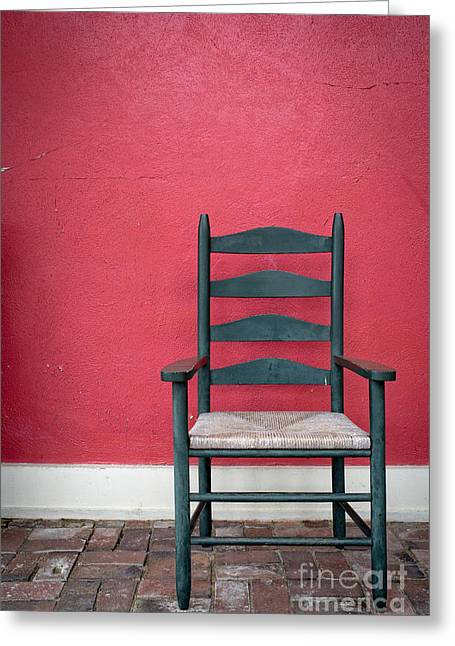Empty Chairs Photographs Greeting Cards - Restful spot Cornish New Hampshire Greeting Card by Edward Fielding