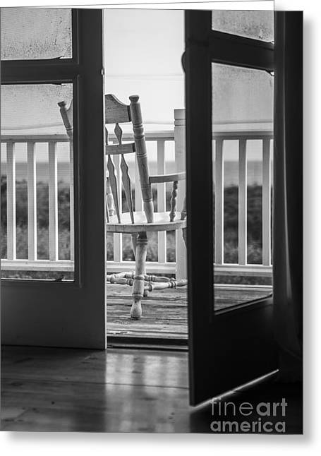 Screen Doors Greeting Cards - Old Chair at the Beach House Greeting Card by Diane Diederich