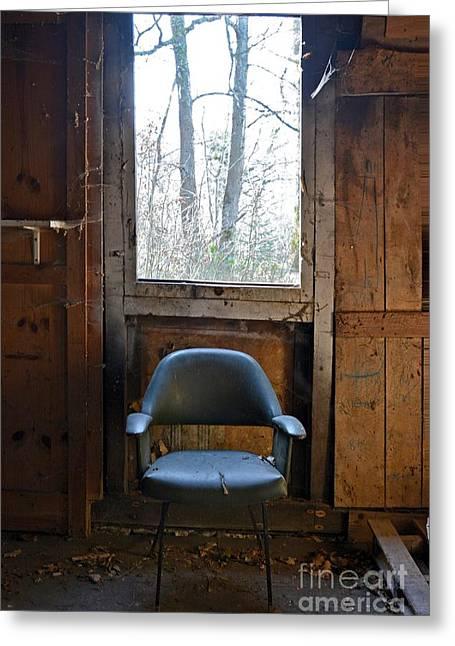 """hardwood Floor"" Greeting Cards - Old chair Greeting Card by Bernard Jaubert"