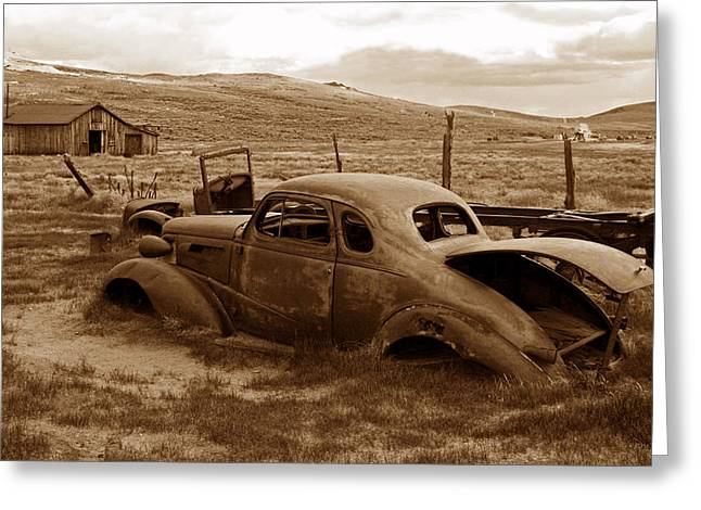Barns Greeting Cards - Old Chevy at Rest in Bodie Greeting Card by Kathy Yates