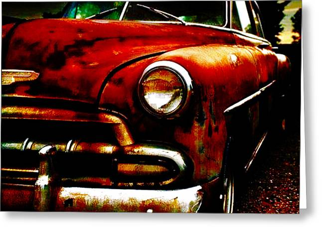 Collector Car Mixed Media Greeting Cards - Old Chevy Greeting Card by M and L Creations