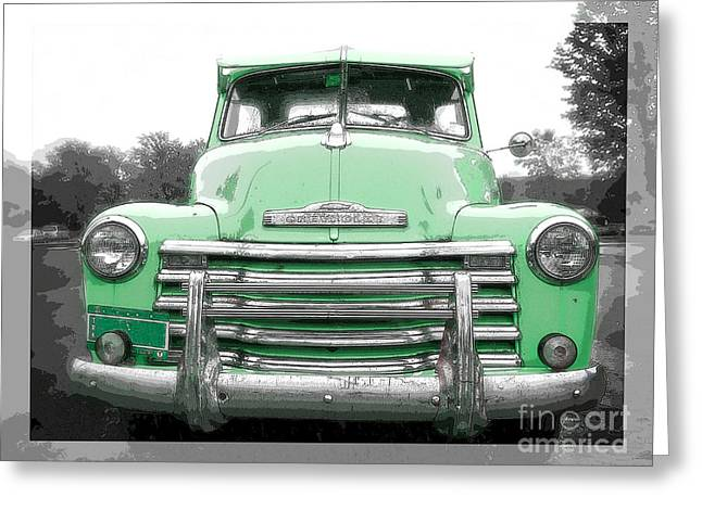 Color Green Greeting Cards - Old Chevy Pickup Truck Greeting Card by Edward Fielding