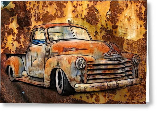 Graffitti Coupe Greeting Cards - Old Chevy Rust Greeting Card by Steve McKinzie