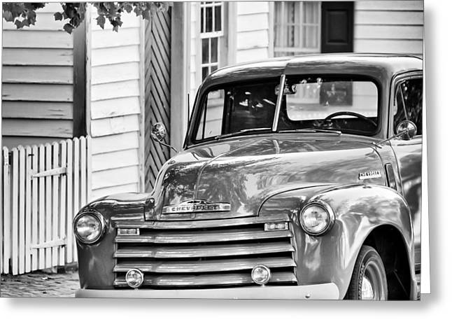Chevrolet Pickup Truck Greeting Cards - Old Chevy Truck BW Greeting Card by Patrick M Lynch