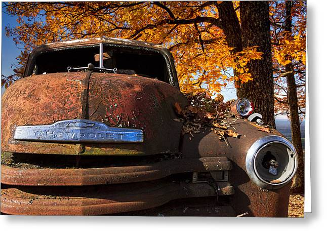 Rusted Cars Greeting Cards - Old Chevy Truck Greeting Card by Debra and Dave Vanderlaan