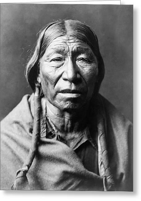 Blanket Photographs Greeting Cards - Old Cheyenne Man circa 1910 Greeting Card by Aged Pixel