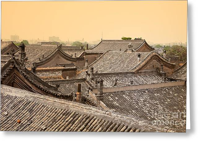 Old Beijing Greeting Cards - Old Chinese city Pingyao Greeting Card by Fototrav Print
