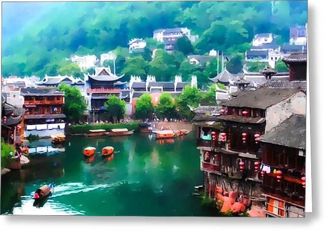 Fenghuang Greeting Cards - Old Chinese traditional town Greeting Card by Lanjee Chee