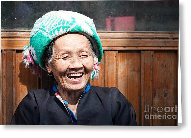 Ethnical Greeting Cards - Old chinese Zhuang minority  lady smiling China Greeting Card by Matteo Colombo