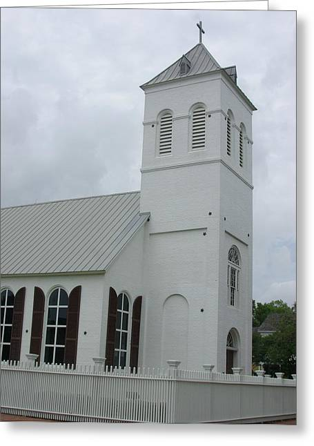 White Pickett Fences Greeting Cards - Old Christ Church Pensacola Florida Greeting Card by Vonda Barnett
