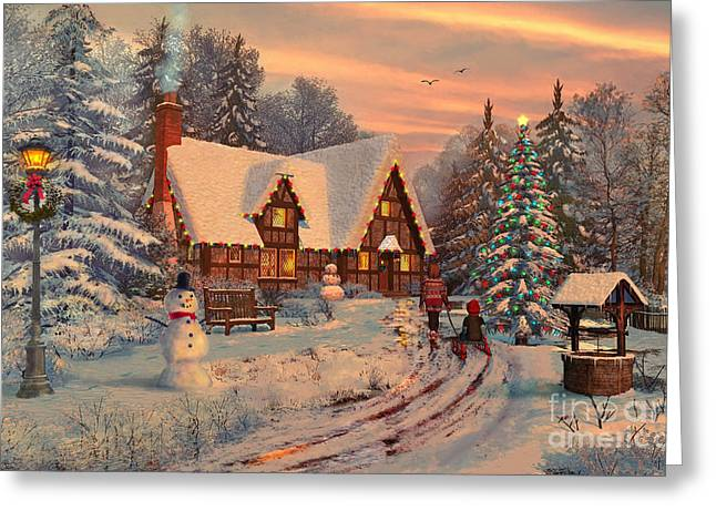 Baubles Greeting Cards - Old Christmas Cottage Greeting Card by Dominic Davison