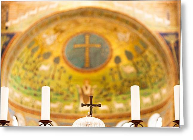 Basillica Greeting Cards - Old Church Alter in Umbria Greeting Card by Susan  Schmitz