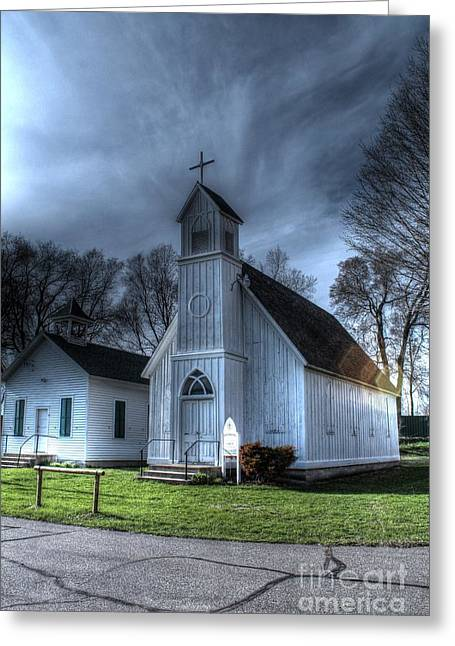 Old Church And School House Greeting Card by Jimmy Ostgard