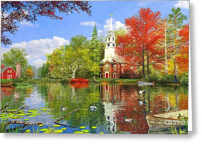 Pond Life Greeting Cards - Old Church at Autumn Lake Greeting Card by Dominic Davison