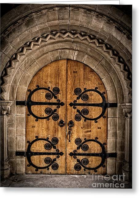 Religious Icon Greeting Cards - Old Church Door Greeting Card by Edward Fielding