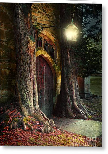 Lord Of The Rings Photographs Greeting Cards - Old Church Door Greeting Card by Jill Battaglia