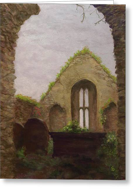 Ruins Pastels Greeting Cards - Old Church in Cahir Ireland Greeting Card by Stacey David