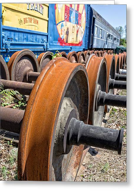 Big Top Greeting Cards - Old Circus Train Wheels Greeting Card by Edward Fielding