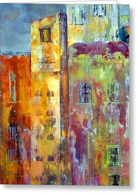 Urban Images Paintings Greeting Cards - Old City East Greeting Card by Katie Black