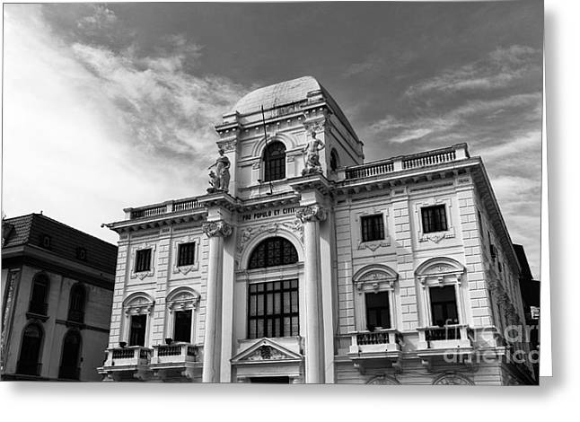 Old City Prints Greeting Cards - Old City Hall Panama City mono Greeting Card by John Rizzuto