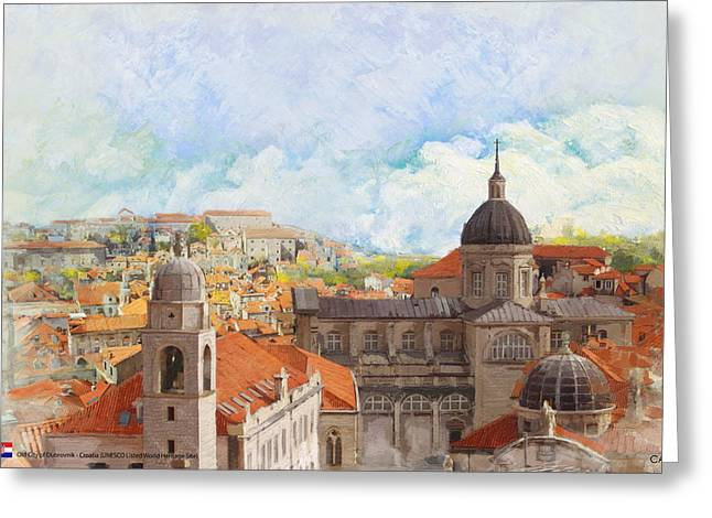 Island Cultural Art Greeting Cards - Old City of Dubrovnik Greeting Card by Catf