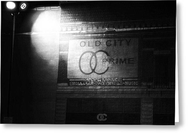 Old Door Mixed Media Greeting Cards - Old City Prime Restaurant At Night Greeting Card by Dan Sproul