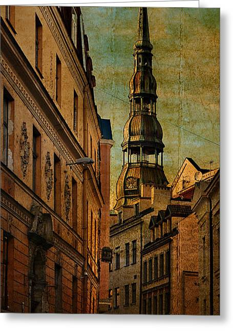 Old City Street - Stylized To Old Image Greeting Card by Gynt