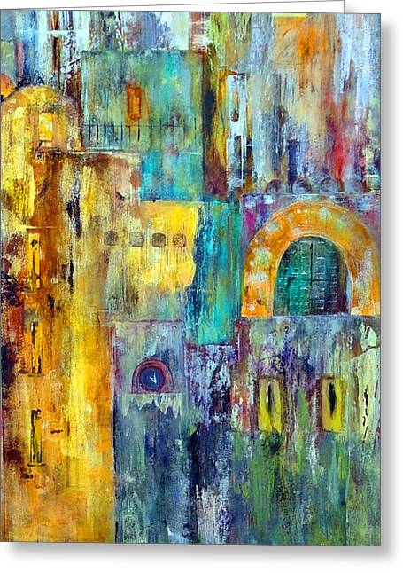 Urban Images Paintings Greeting Cards - Old City West Greeting Card by Katie Black