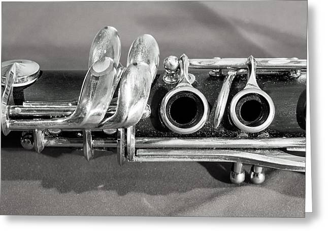 Marching Band Greeting Cards - Old Clarinet Black and White Greeting Card by Photographic Arts And Design Studio