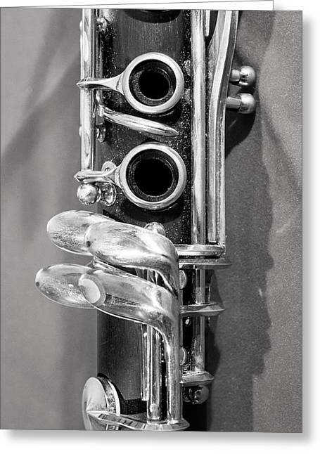 Marching Band Greeting Cards - Old Clarinet Black and White Vertical Greeting Card by Photographic Arts And Design Studio