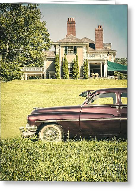 Rich Countries Greeting Cards - 1951 Mercury sedan in front of large mansion Greeting Card by Edward Fielding