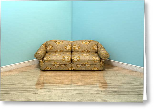 Peaches Corner Greeting Cards - Old Classic Sofa In A Room Greeting Card by Allan Swart