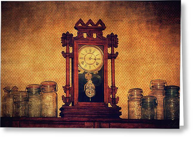 Old Clock Greeting Card by Maria Angelica Maira