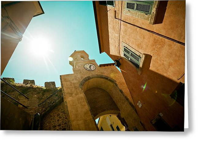 old clock on the tower and sun Greeting Card by Raimond Klavins