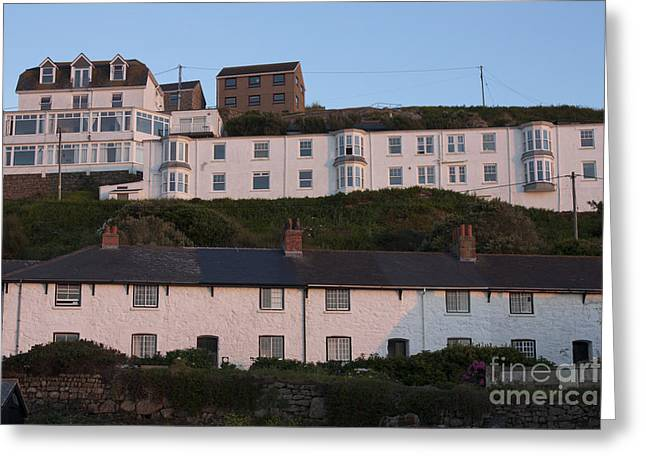 Sennen Cove Greeting Cards - Old Coastguard Row and Sennen Heights Greeting Card by Terri  Waters
