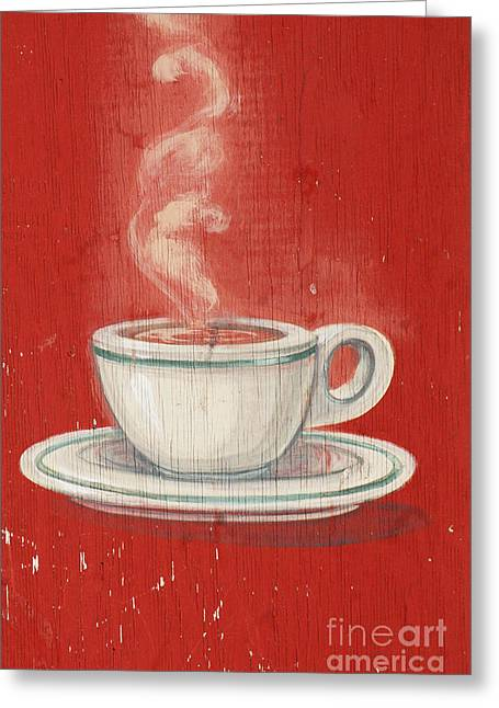 Advertising Mixed Media Greeting Cards - Old Coffee Cup Advertising Greeting Card by AdSpice Studios